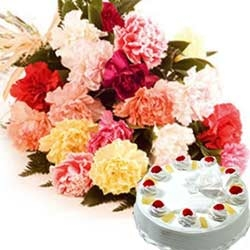 Birthday Flowers 20 Carnations 1/2 kg Pineapple Cake