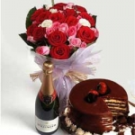 Make Up Her Mood 24 Roses 1 Kg Chocolate Cake Champagne / Wine