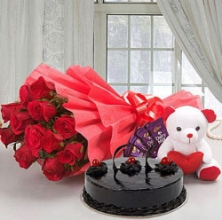 Roses with Teddy Bear, Dairy Milk & Truffle Cake