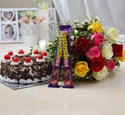 12 Mix Roses with Munch & Black Forest Cake