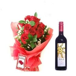 10 Red Roses N Wine Bottle