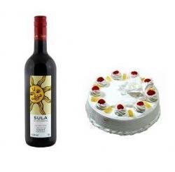 Pineapple Cake N Wine Combo