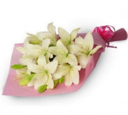 6 White Lilies Bouquet