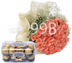 For You 20 Pink Roses Ferrero Rocher Box