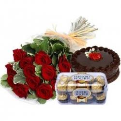 20 Roses chocolate cake and Ferrero Rocher