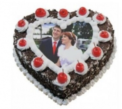 1kg Heart Shape Black Forest Photo Cake