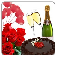 Happiness 50 Roses Champagne N Cake