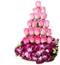 Roses And Orchids Basket Arrangement