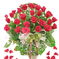 Lovely Beautiful 30 Roses Basket with Gyplsophilia