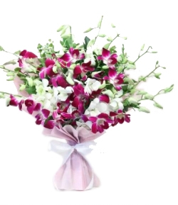 Beautiful Mix of 10 Purple N White Orchids