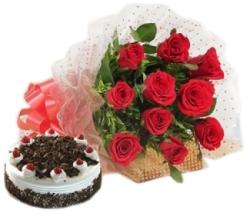 10 Red Roses & 1 Kg Black Forest cake