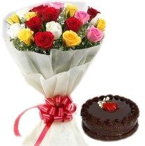 Sweet Gesture 12 Roses & Chocolate Cake
