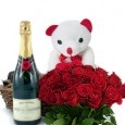 Sweet Surprise 50 Red Roses & Champagne Bottle