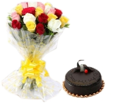 20 MIX COLOR ROSES WITH CHOCOLATE CAKE