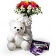 Love & Romance 12 Roses Teddy & Chocolates
