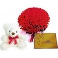 Emotions 100 Roses with 6 inch Teddy & Cadbury Celebration Box