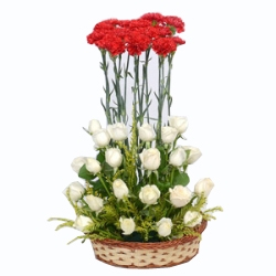 Red & White 25 Roses 15 Carnations