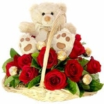 My Love Basket of 12 Red Roses with a Sweet Teddy