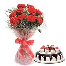 Red Carnation N Black Forest Cake