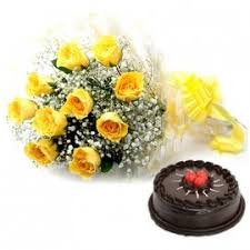 10 Yellow Roses With Chocolate Cake