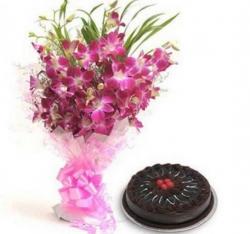 10 Purple Orchid N Chocolate Cake