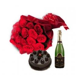 Celebrations 20 Roses Cake n Champagne