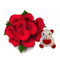 Love 10 Roses & Teddy