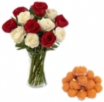 Red N White Roses With Motichur Laddu
