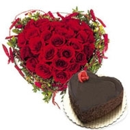 Chocolaty Heart  30 Red Rose & 1 Kg Heart Shape Chocolate Cake