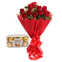 Rose Day 10 Red Roses Ferrero Rocher Chocolates