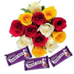 Colorful Surprise 12 Roses & 3 Dairy milk chocolates