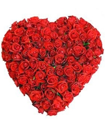 75 Roses Heart Shape arrangement