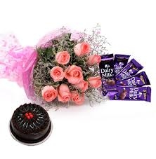 Pink Rose With Cake N Chocolate