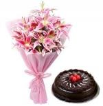 Luxurious Lillies N Truffle Cake