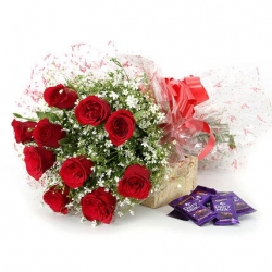 Choco Love 10 Red Roses & Dairy Millk Chocolates