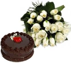 Divine 12 Roses & Chocolate Cake