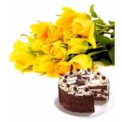 Love Messenger 10 Roses & Black Forest Cake