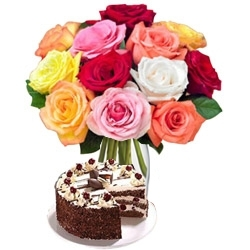 Sweet Gesture 12 Roses Black Forest Cake