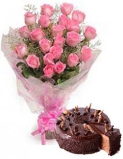 Simple 20 Pink Roses & 1/2 Kg Chocolate Cake