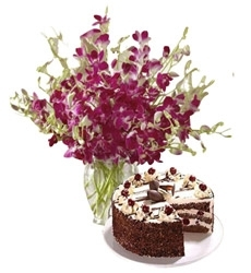 Loved 10 Orchid Stems & Black Forest Cake