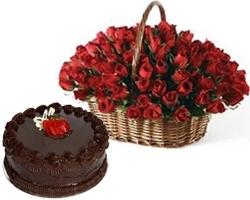 Sensation Bonanza 100 Roses & Cake