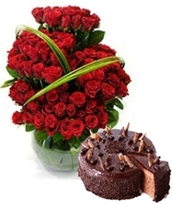 Passion love 100 Roses & Chocolate Cake