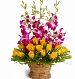 Basket Of Yellow Roses N Orchid