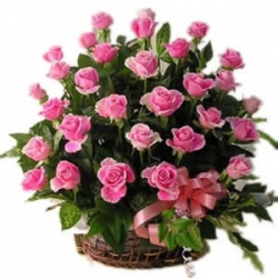 Basket of 20 Pink Roses