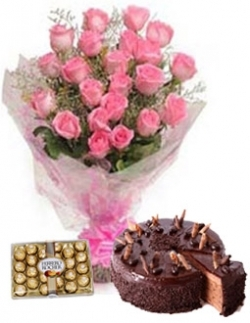 20 Roses  Chocolate Cake & Chocolates