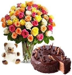 Feelings 50 Roses Chocolate Cake & Teddy