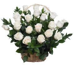 20 White Roses Basket