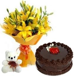 Happy Birthday 10 Yellow Lilies 1/2 Kg Chocolate Cake & 6 Inch Teddy