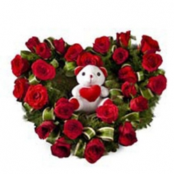 25 Red Roses Heart & Teddy