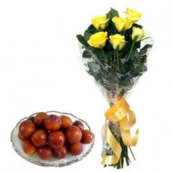 6 Roses N Gulab Jamun